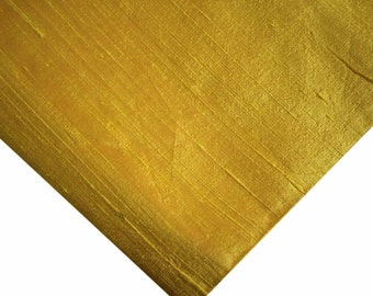 Indian Silk Fabric - Pure Silk Dupioni - Raw Mulberry Silk - Mustard Dupioni Silk