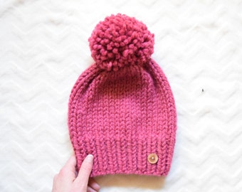 Knitted Slouchy Hat, Slouchy Hat with Pom Pom, Winter Hat, Winter Beanie    The Molly in Raspberry