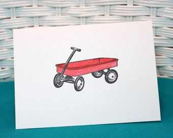 Set of 5 Hand Stamped Little Red Wagon Note Cards