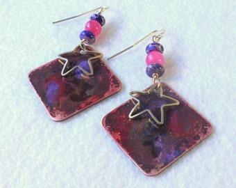 Copper Forced Patina Star Drop Earrings