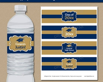 EDITABLE Graduation Water Bottle Label Template - Printable Navy Gold College Graduation Party Decorations Class of 2016 Water Bottle Wraps