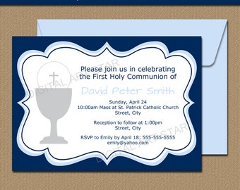 Holy Communion Invitation Download - Digital 1st Holy Communion Invitation Printable - EDITABLE Invitation in Blue & Navy - Instant Download