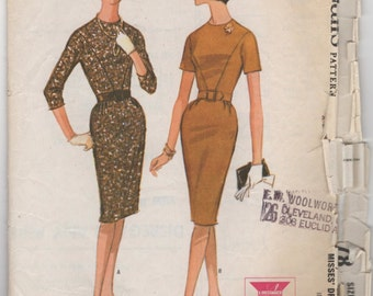 1950's McCall's Fitted Dress with Short or Elbow length sleeves - Bust 38 - No. 6978