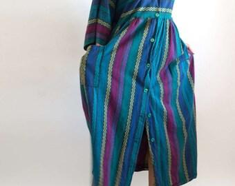 SALE! 1980s// Vintage// Yarn Dye// Strip// Oversize// Boho// Shirt Dress// House Dress// M