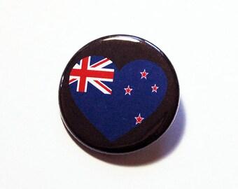 New Zealand Pin, Pinback buttons, Lapel Pin, I Love New Zealand, New Zealand Flag Pin, New Zealand Heart Pin, Kiwi Pin, Country Pin (5771)
