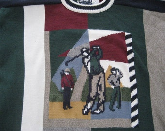 Knitting Patterns For Golf Jumpers : Golf course sweater Etsy
