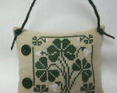 Shamrock Cross Stitched Hanging Pillow / St. Patrick's Door pillow