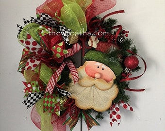 Christmas  Wreath, Santa Christmas Wreath with Ribbon, Wreath, Christmas Door Decor, Front Door Wreath, Christmas Door Hanger