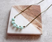 Mint Quartz + Brass Bar Necklace, Simple Layering Necklace, Modern Stone Necklace