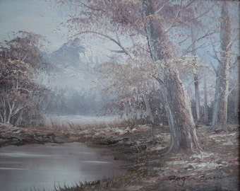 Vintage Oil Painting on Board Forest River Trees Mountains  Landscape Scene Framed Artist Signed