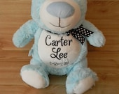 MONOGRAMMED STUFFED BEAR. Personalized Baby Gift. Blue Plush Bear. Unique Baby Gift. Baby Shower Gift. Gift for Children