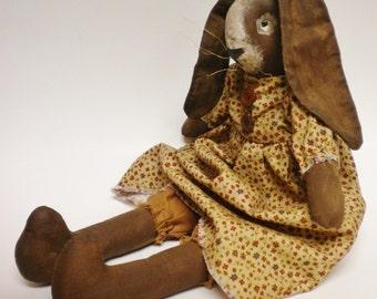 Primitive Rabbit Doll, Folk Art Rabbits, Bunny Rabbit Dolls, Spring Country Decor, Easter Bunnies