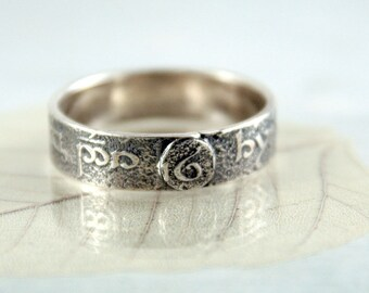Sterling Band Ring - Rivendell Find - Elven runes - Your Size