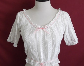 """Edwardian Lace Corset Cover - up to 24"""" Waist and 33"""" Bust. Hand-sewn. Early 1900s 1910s Restored"""