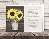 Rustic Burlap & Lace Tin Can Sunflower Wedding Invitations and RSVP - Printed Invitations