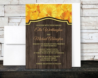 Daffodil Wood Wedding Invitations - Yellow Floral design with Rustic Brown Wood - Printed Invitations