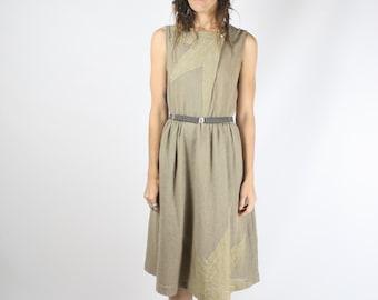 80s Star Dress, Sleeveless Japanese Vintage dress, Star appliqué Woven dress, Small