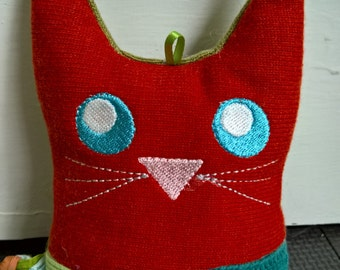 Abstract Cats Itty Bitty Kitty - Tangerine (gift, baby, gift, art, home decor, handmade, toy)