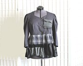 Upcycled Top Cardigan Grey Black Puff Sleeves Plaid Recycled Clothing Size Large Extra Large XL