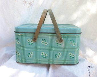 Metal Picnic Basket with Wood Swing Handles ~ Vintage Cottage ~ Country ~ Farmhouse Chic ~ Green with Flowers ~ 1940's era