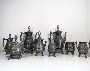 Antique Silverplate Tea Set // Rogers & Bro Triple Plate 1800's 8-Piece Tea Service Ornate Faces Raised Floral Design Tea Coffee Cream Sugar