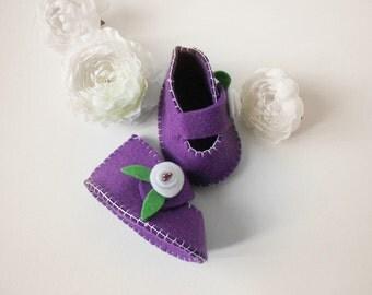 Baby girl Shoes Baby girl Booties Felt baby shoes Felt baby booties