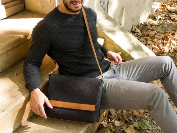 Black and tan mens MESSENGER BAG / felt and leather messenger bag / mens satchel / messenger bag for men / mens bag / made in Italy