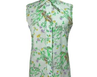vintage 1970s floral blouse / Dearborn / cotton blend / sleeveless blouse / spring summer / deadstock / women's vintage blouse / tag size 12