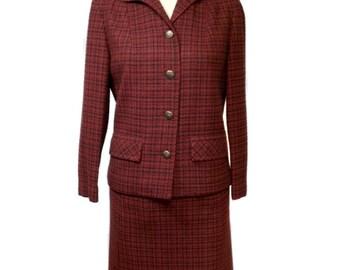 vintage 1960s PENDLETON plaid skirt suit / red / wool / jacket skirt / plaid suit / women's vintage suit / size 10