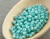 4mm Azure Turquoise Blue Czech Fire Polished Beads 4mm (50) Polish Faceted Opaque Light Blue Glass Small NR2 last