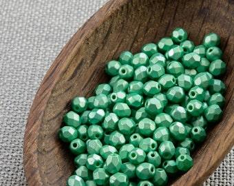 4mm Greene beads Czech Fire Polished Beads 4mm (50) Fire Polish beads Faceted beads Frosted Glass beads Metallic green