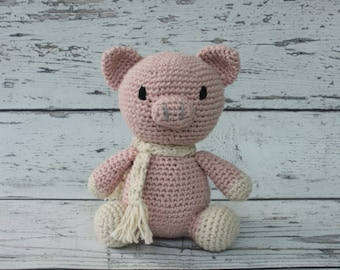 Petunia the Pig, Crochet Miniature Pig Stuffed Animal, Pink Piglet Amigurumi, Plush Animal, MADE TO ORDER