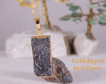 Gold dipped black druzy crystal pendant, sparkly rectangular talisman stone, custom initial gold filled necklace, dainty layering necklace