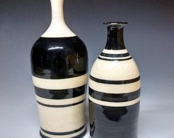 Modern Vases - Ceramic Bottles - Handmade Pottery - Black and White Stoneware
