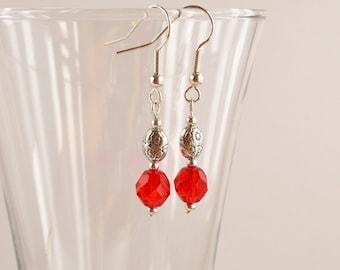 Red glass earrings, Small drop earrings, Red dangle earrings, Red jewellery, Glass drop, Gift, UK jewellery, E0045-1