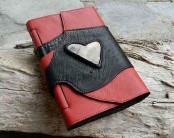 A5 Leather Journal with Australian Ribbon Stone Black and Red Recycled Leather Diary Handbound Book
