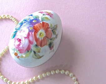 Limoges Hand painted Egg, by Castel, France, Hand Painted Flowers, Not a Decal, Signed by Artist, Jewel Box, Gift Box, Easter Box