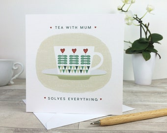Mothers Day Card Tea with Mum Scandi Style - card for mum - mothering sunday - scandi teacup - uk