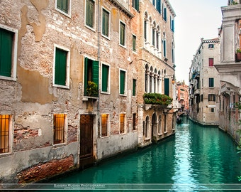Travel Venice decor, Italy wall art, Venice fine art photography, Venezia water canals, houses print, typical romantic streets of Venice