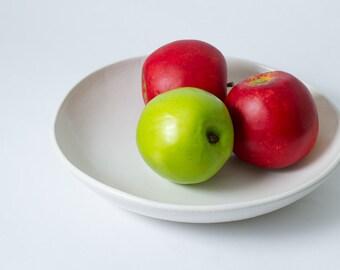 "10"" Medium / Large Semi - Matte White Porcelain Pottery Ceramic Salad Serving or Fruit Bowl Handmade - Ready to ship"