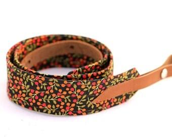 Berry Black Mandolin / Ukulele Strap with Leather ends