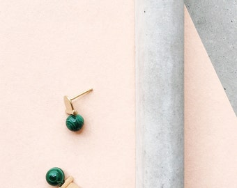 Stoned Arch Studs / 14k gold vermeil / architectural gemstone jewelry / banded green malachite