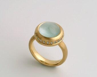 Large Natural Aquamarine Cabochon Ring | 18k Gold Women's Unique Cocktail ring, Round Cabochon Aqua Marine Gemstone Ring Gem Stone Diamonds