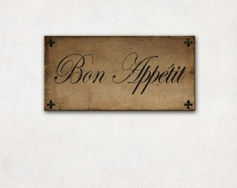Canvas Art | Bon Appetit, Gallery Wrap, Typography Sign, Kitchen Dining Wall Art, Restaurant Decor, Brown & Black, 10x20""