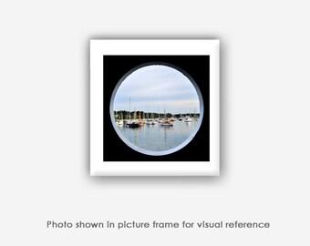Vineyard Haven Harbor Boats, Square Photographs, Photos, Prints, Island Home Porthole, Martha's Vineyard Photography, Wall Art