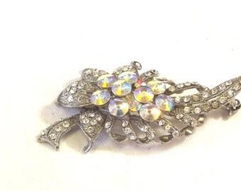 Aurora Borealis Rhinestone Pin - Vintage Rhinestone Jewelry - Wedding Jewelry - Rhinestone Brooch