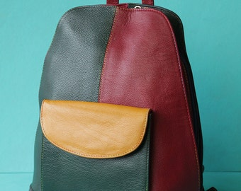 Vintage green red yellow colorful leather patchwork rucksack backpack simple day bag