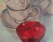 White Teacups and Crimson Bowl, Original Oil Painting