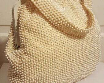 PEARL BEADED PURSE // 40's Winter Creamy White Ivory Wedding Gold 50's Formal Evening Bag Round Beaded