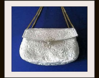 White Satin Clutch, Clutch Purse, Embroidered bag,Evening Bag